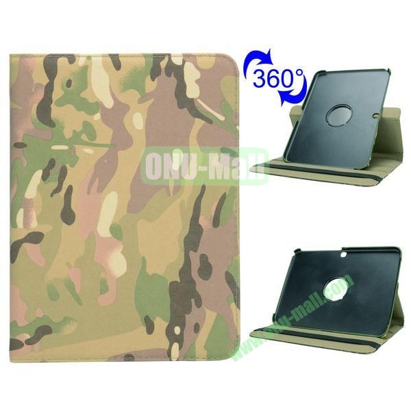 Retro Pattern 360 Rotating Flip Leather Case for Samsung Galaxy Tab 4 10.1 T530 (Camouflage)