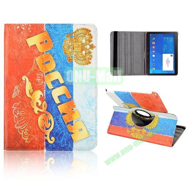 360 Degree Rotatable Leather Case for Samsung Galaxy Tab 4 10.1 T530 (Emblem of Russia)