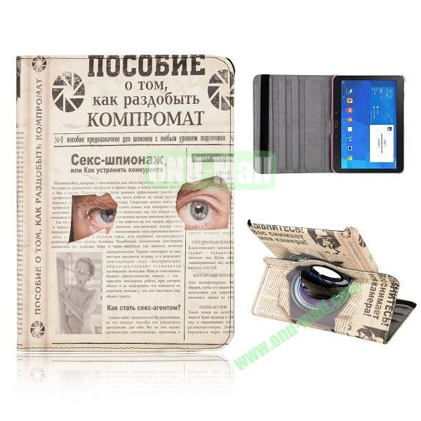 360 Degree Rotatable Leather Case for Samsung Galaxy Tab 4 10.1 T530 (Paper and Eyes Pattern)