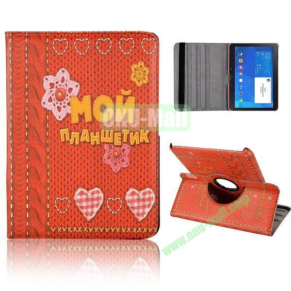 360 Degree Rotatable Leather Case for Samsung Galaxy Tab 4 10.1 T530 (Flowers and Heart Pattern)