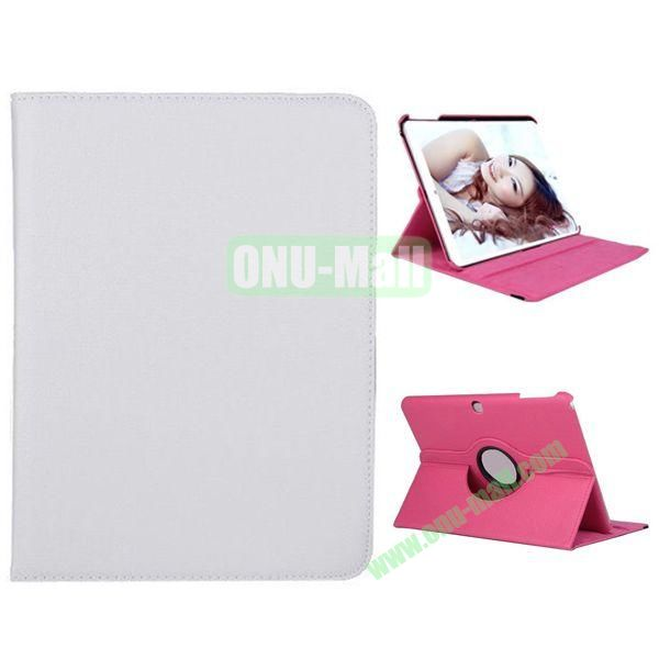 360 Degree Rotation Litchi Texture Leather Case for Samsung Galaxy Tab 4 10.1  T530 (White)