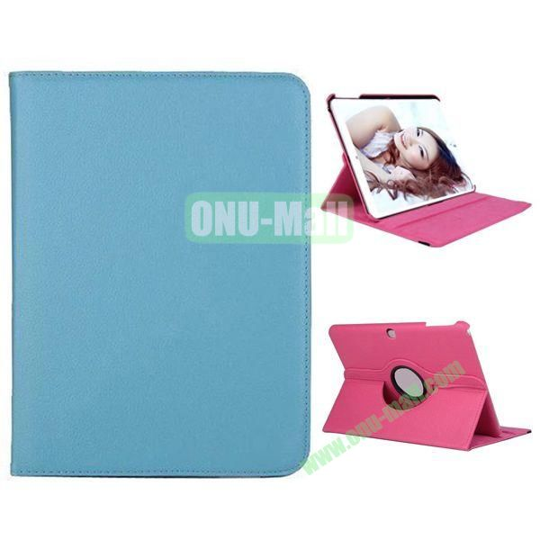360 Degree Rotation Litchi Texture Leather Case for Samsung Galaxy Tab 4 10.1  T530 (Blue)