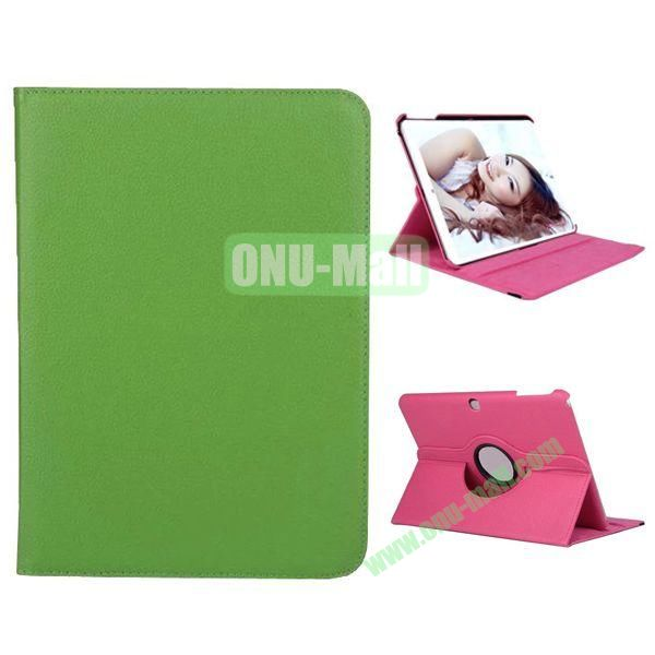 360 Degree Rotation Litchi Texture Leather Case for Samsung Galaxy Tab 4 10.1  T530 (Green)