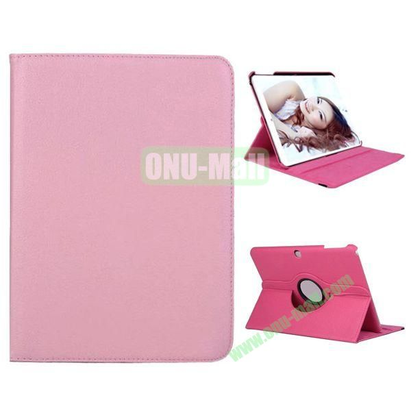 360 Degree Rotation Litchi Texture Leather Case for Samsung Galaxy Tab 4 10.1  T530 (Pink)