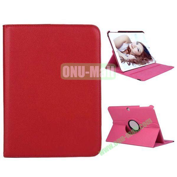 360 Degree Rotation Litchi Texture Leather Case for Samsung Galaxy Tab 4 10.1  T530 (Red)