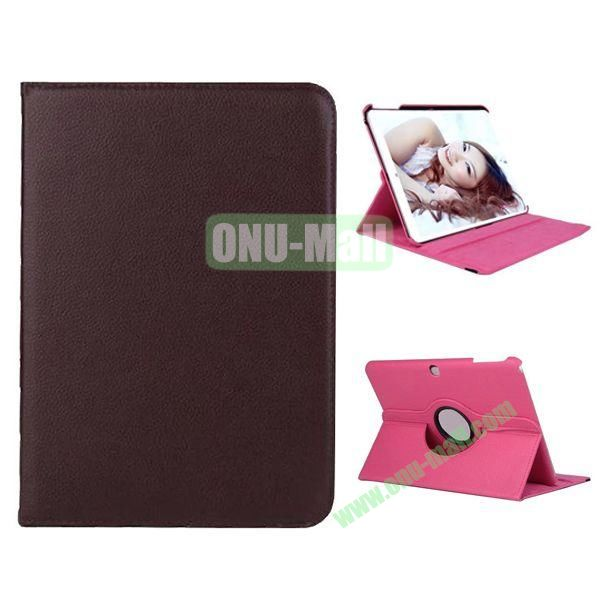360 Degree Rotation Litchi Texture Leather Case for Samsung Galaxy Tab 4 10.1  T530 (Brown)