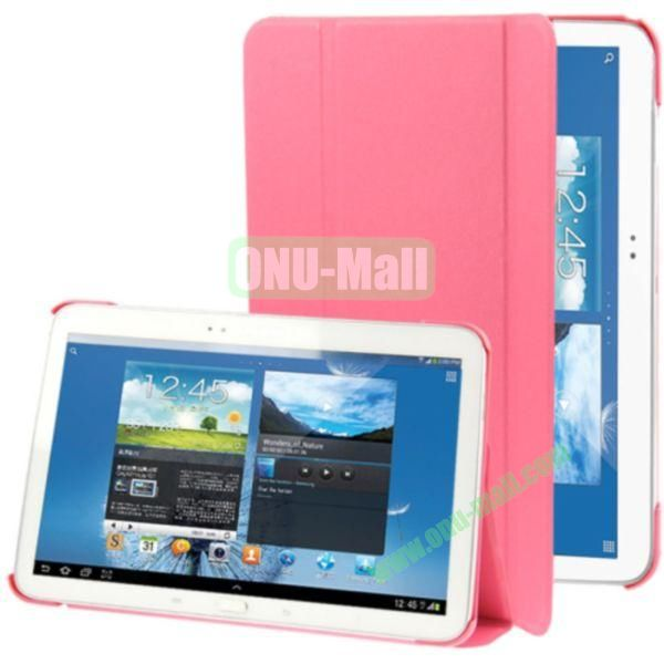 3-folding Litchi Texture Flip Stand Leather Case for Samsung Galaxy Tab 4 10.1 T530 (Pink)