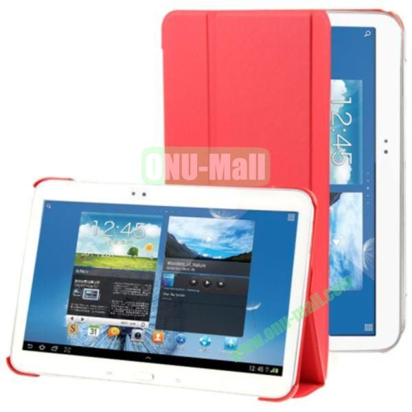 3-folding Litchi Texture Flip Stand Leather Case for Samsung Galaxy Tab 4 10.1 T530 (Red)