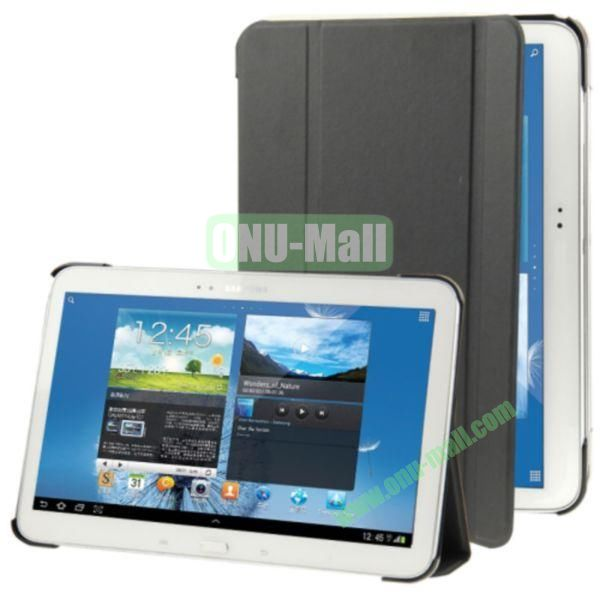 3-folding Litchi Texture Flip Stand Leather Case for Samsung Galaxy Tab 4 10.1 T530 (Black)