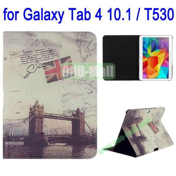 London Bridge Pattern Folio Stand Leather Case with 3 Gears for Samsung Galaxy Tab 4 10.1  T530