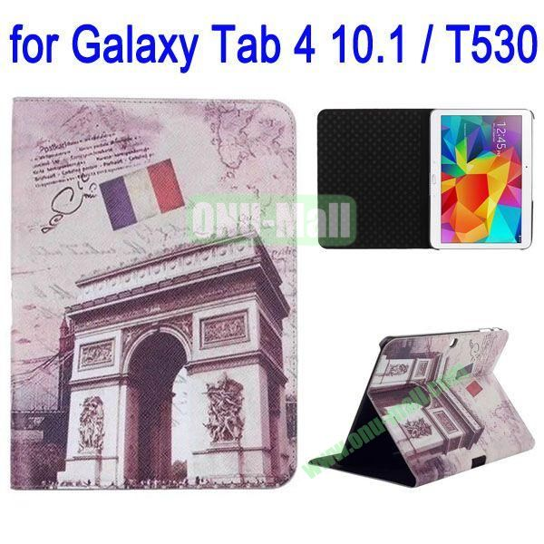 Paris Triumphal Arch Pattern Folio Stand Leather Case with 3 Gears for Samsung Galaxy Tab 4 10.1  T530