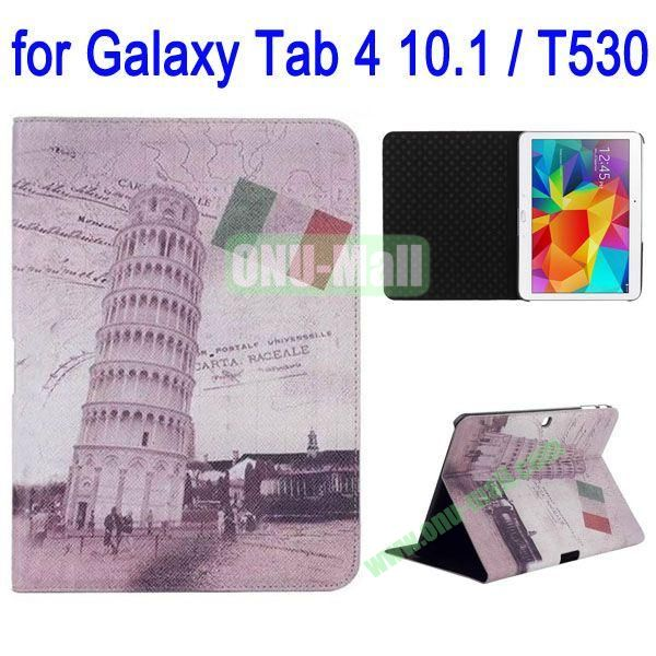 Leaning Tower of Pisa Pattern Folio Stand Leather Case with 3 Gears for Samsung Galaxy Tab 4 10.1  T530