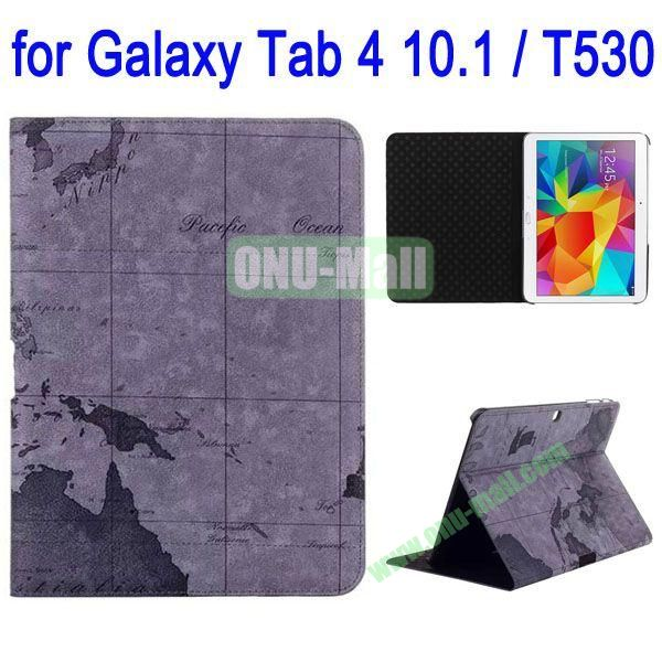 Map Pattern Folio Stand Leather Case with 3 Gears for Samsung Galaxy Tab 4 10.1  T530 (Grey)