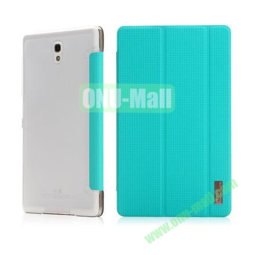 ROCK Elegant Series Mesh Pattern 3-Folding Side Flip Leather Case for Samsung Galaxy Tab S 8.4 T700 (Green)