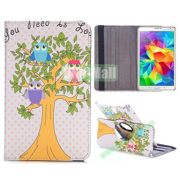 360 Rotating Style Flip Leather Case for Samsung Galaxy Tab S 8.4 T700 with Belt (Three Owls in the Tree)
