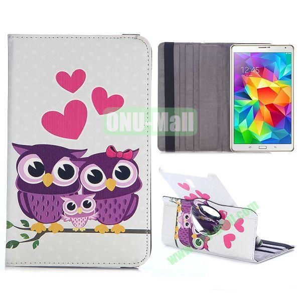 360 Rotating Style Flip Leather Case for Samsung Galaxy Tab S 8.4 T700 with Belt (Lovely Purple Owl Family)