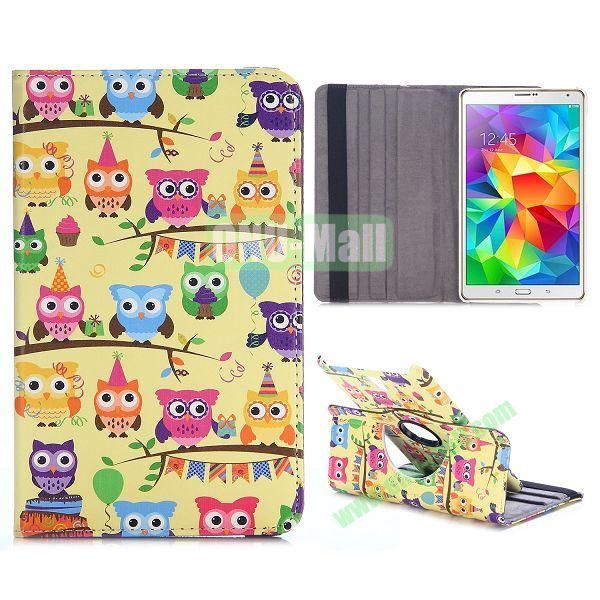 360 Rotating Style Flip Leather Case for Samsung Galaxy Tab S 8.4 T700 with Belt (Colorized Owls)