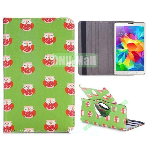 360 Rotating Style Flip Leather Case for Samsung Galaxy Tab S 8.4 T700 with Belt (Lovely Owls Pattern)
