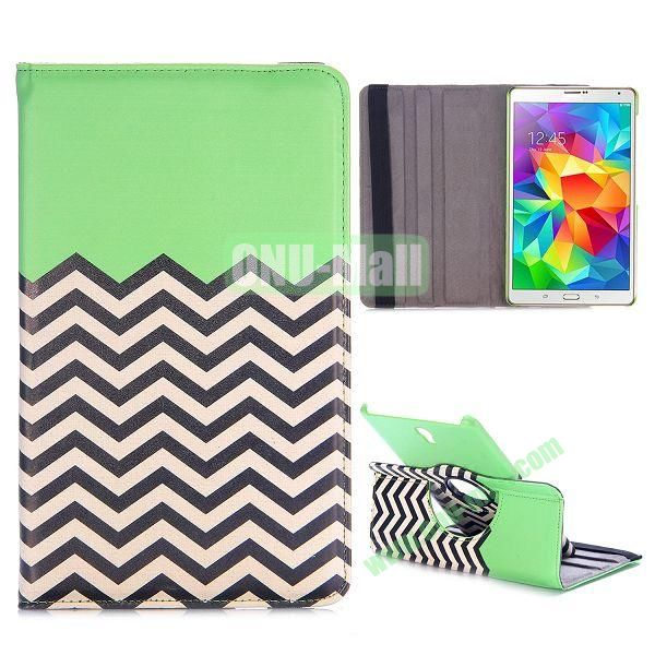 360 Rotating Wave Line Pattern Flip Leather Case for Samsung Galaxy Tab S 8.4 T700 with Belt (Green)
