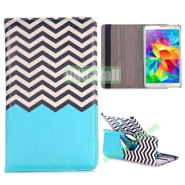 360 Rotating Wave Line Pattern Flip Leather Case for Samsung Galaxy Tab S 8.4 T700 with Belt (Blue)