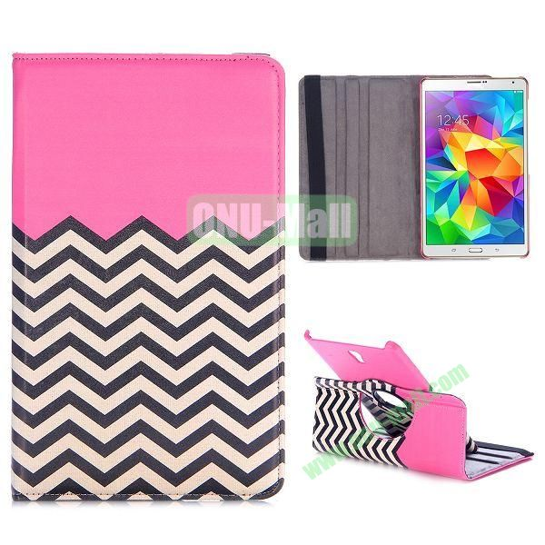 360 Rotating Wave Line Pattern Flip Leather Case for Samsung Galaxy Tab S 8.4 T700 with Belt (Pink)