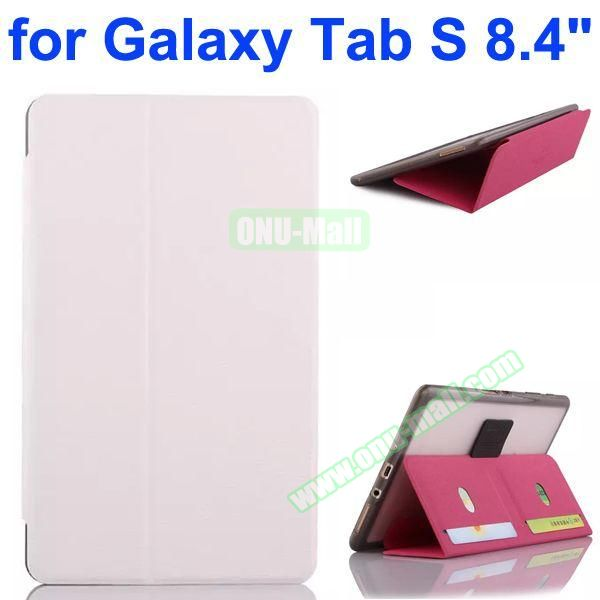 Flip Leather Case with Card Slots and TPU Back Cover for Samsung Galaxy Tab S 8.4 T700 (White)