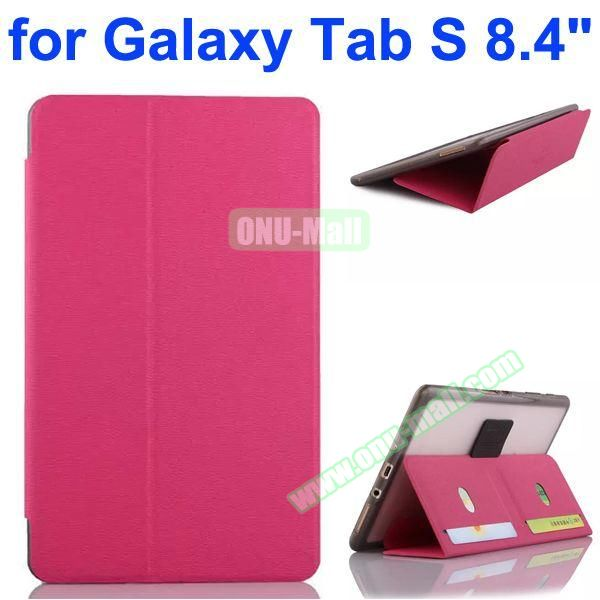 Flip Leather Case with Card Slots and TPU Back Cover for Samsung Galaxy Tab S 8.4 T700 (Rose)