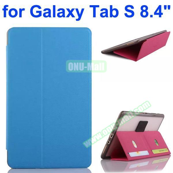 Flip Leather Case with Card Slots and TPU Back Cover for Samsung Galaxy Tab S 8.4 T700 (Blue)