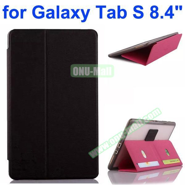 Flip Leather Case with Card Slots and TPU Back Cover for Samsung Galaxy Tab S 8.4 T700 (Black)
