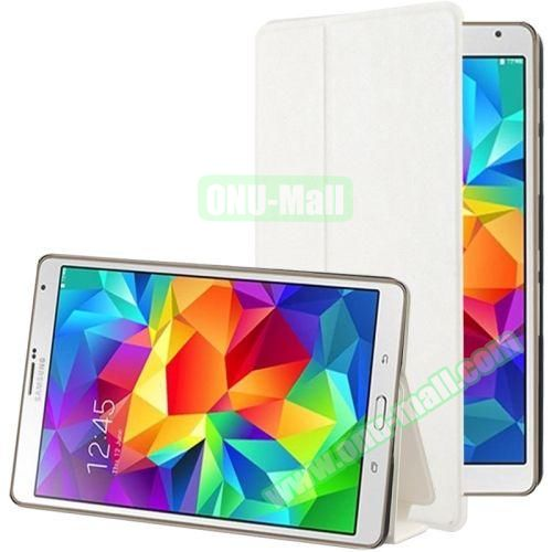 Frosted Texture Flip Leather Case for Samsung Galaxy Tab S 8.4 with Stand (White)