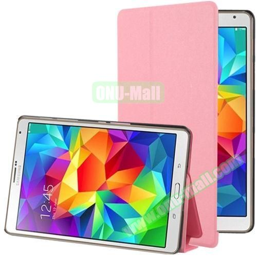 Frosted Texture Flip Leather Case for Samsung Galaxy Tab S 8.4 with Stand (Pink)
