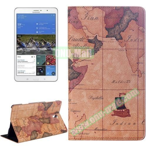 World Map Pattern Flip Leather Case for Samsung Galaxy Tab S 8.4 T700 with Holder (Brown)