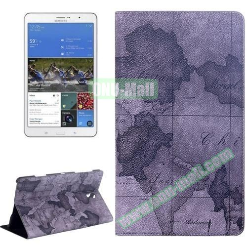 World Map Pattern Flip Leather Case for Samsung Galaxy Tab S 8.4 T700 with Holder (Grey)