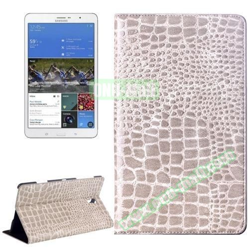 Crocodile Texture Flip Leather Case for Samsung Galaxy Tab S 8.4 T700 with Holder (Light Grey)