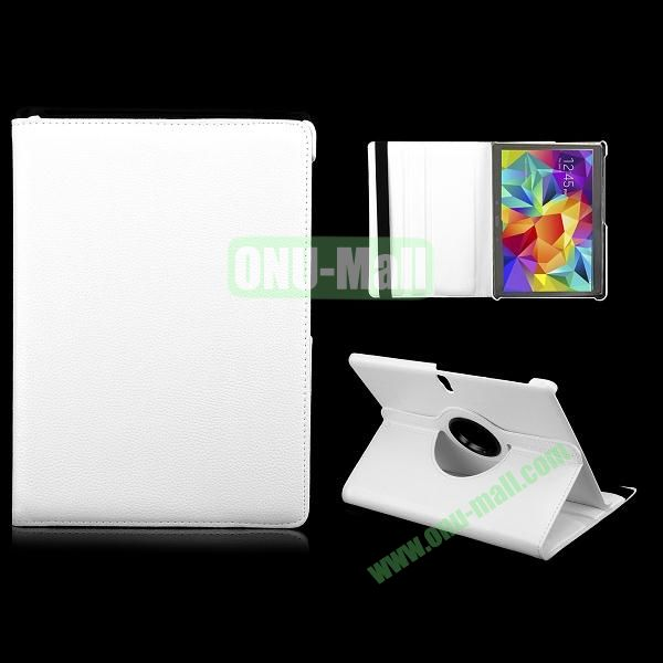 360 Degree Rotatable Litchi Texture Leather Case for Samsung Galaxy Tab S 10.5 T800 (White)