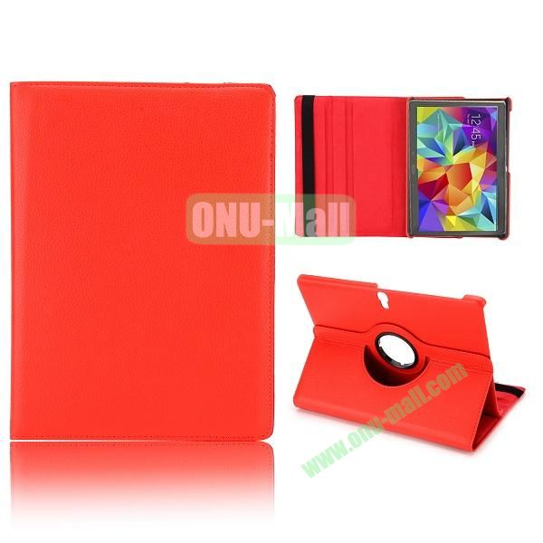 360 Degree Rotatable Litchi Texture Leather Case for Samsung Galaxy Tab S 10.5 T800 (Red)