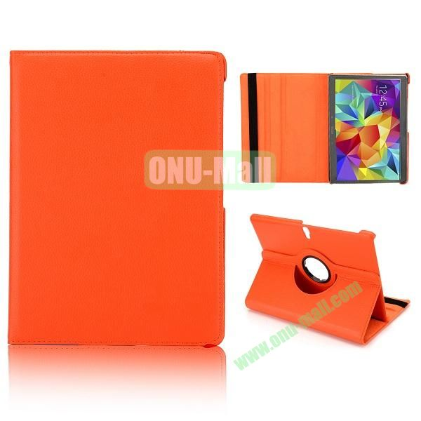 360 Degree Rotatable Litchi Texture Leather Case for Samsung Galaxy Tab S 10.5 T800 (Orange)