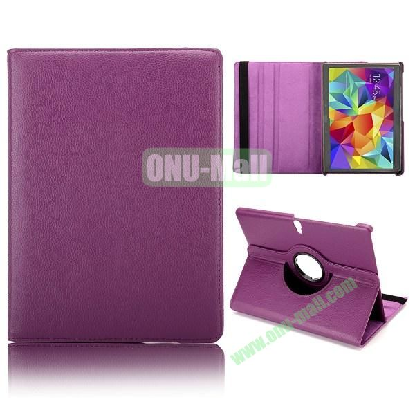 360 Degree Rotatable Litchi Texture Leather Case for Samsung Galaxy Tab S 10.5 T800 (Purple)