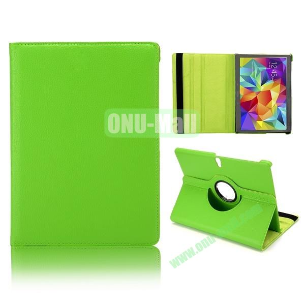 360 Degree Rotatable Litchi Texture Leather Case for Samsung Galaxy Tab S 10.5 T800 (Green)