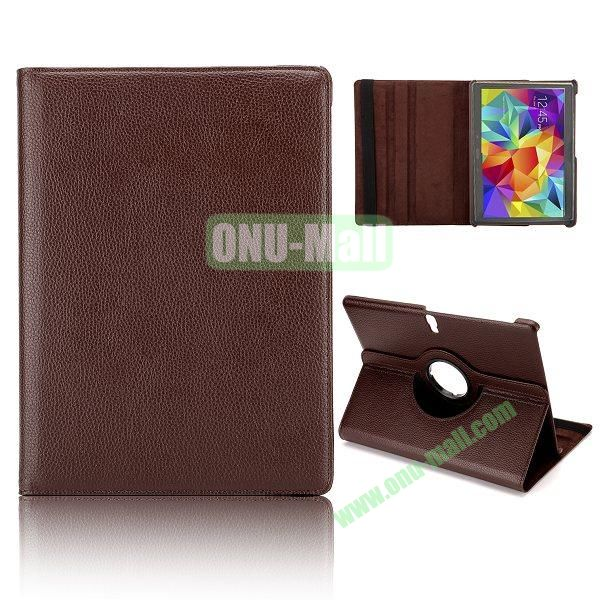 360 Degree Rotatable Litchi Texture Leather Case for Samsung Galaxy Tab S 10.5 T800 (Coffee)
