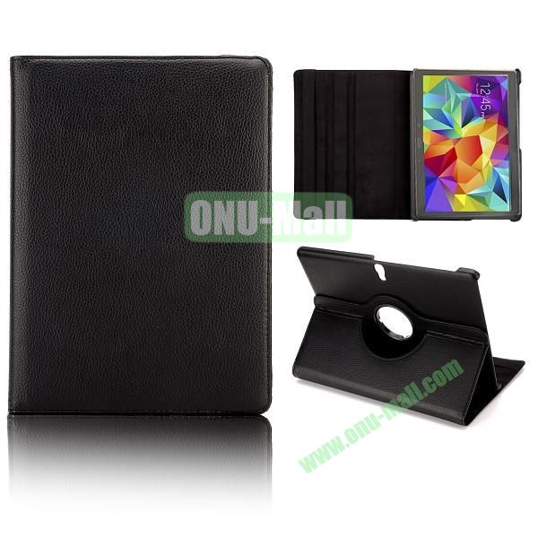 360 Degree Rotatable Litchi Texture Leather Case for Samsung Galaxy Tab S 10.5 T800 (Black)