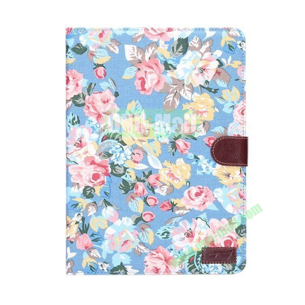 Beautiful Flower Pattern Wallet Leather Case For Samsung Galaxy Tab S 10.5 T800 (Blue)