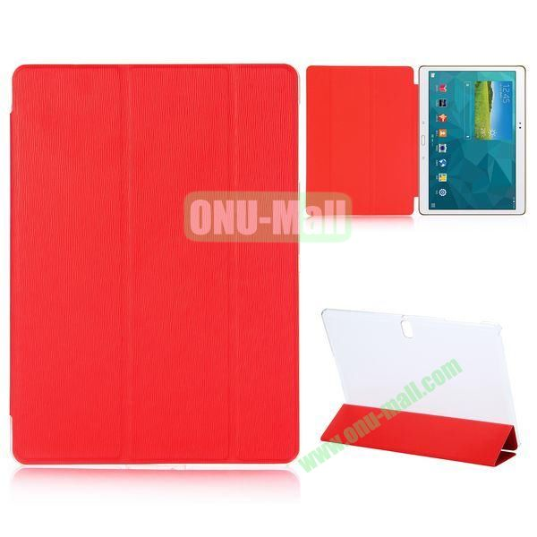 3-Folding Cross Texture Flip Leather Case For Samsung Galaxy Tab S 10.5 T800 T805 (Red)