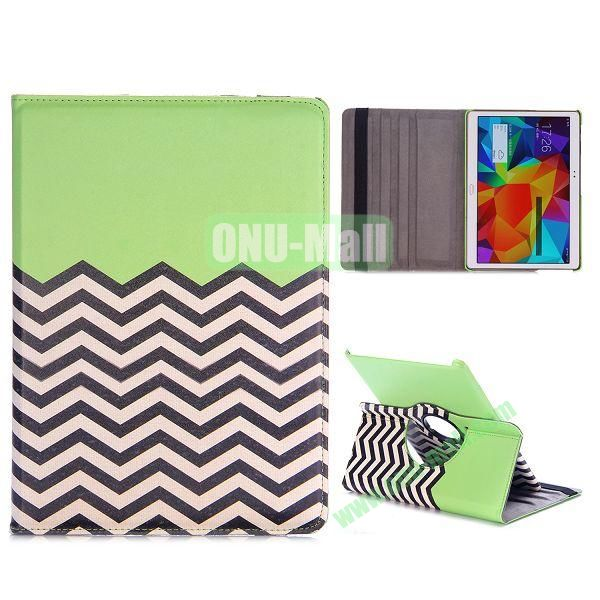 360 Rotating Wave Line Pattern Flip Stand PC+PU Leather Case for Samsung Galaxy Tab S 10.5 T800 T805 with Elastic Belt (Green)