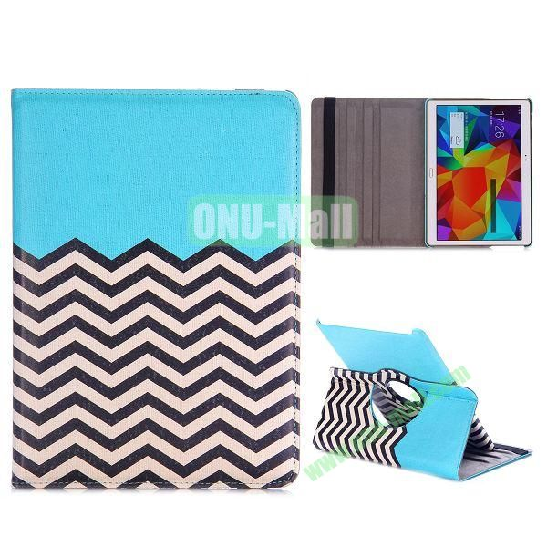 360 Rotating Wave Line Pattern Flip Stand PC+PU Leather Case for Samsung Galaxy Tab S 10.5 T800 T805 with Elastic Belt (Blue)