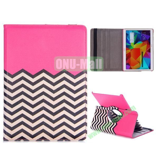 360 Rotating Wave Line Pattern Flip Stand PC+PU Leather Case for Samsung Galaxy Tab S 10.5 T800 T805 with Elastic Belt (Rose)