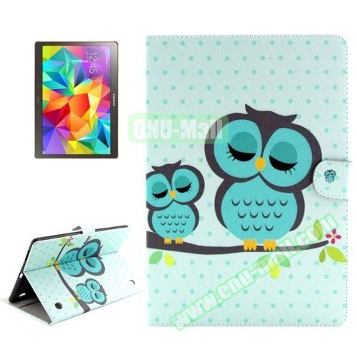 Color Pattern Stand Style Leather Flip Cover for Samsung Galaxy Tab S 10.5 T800 (Sleeping Owl)