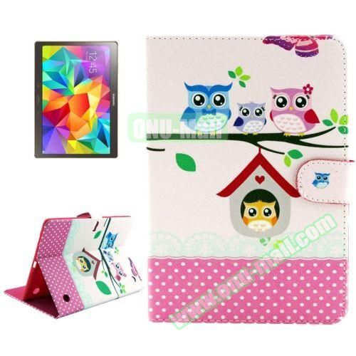 Color Pattern Stand Style Leather Flip Cover for Samsung Galaxy Tab S 10.5 T800 (Owl Family)