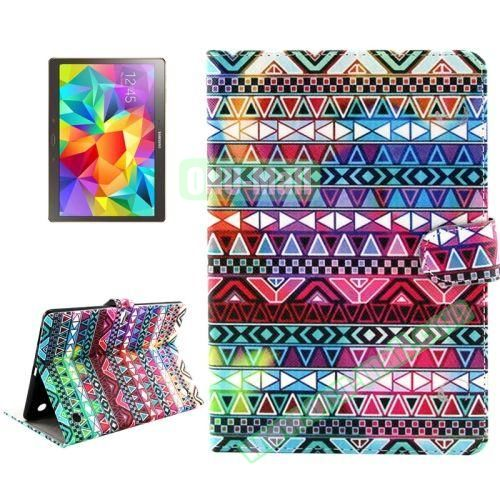 Color Pattern Stand Style Leather Flip Cover for Samsung Galaxy Tab S 10.5 T800 (Tribal Pattern)