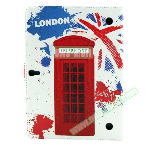 Color Pattern Stand Style Leather Flip Cover for Samsung Galaxy Tab S 10.5 T800 (Telephone Booth)